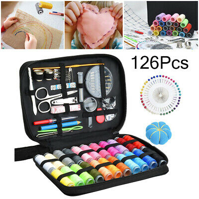 126Pcs Sewing Kit Set Scissors Needle Thread Home Travel  Hand Sewing Tool Case