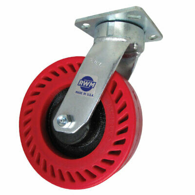 RWM Casters 65 Series Plate Caster, Swivel, Kingpinless, Red