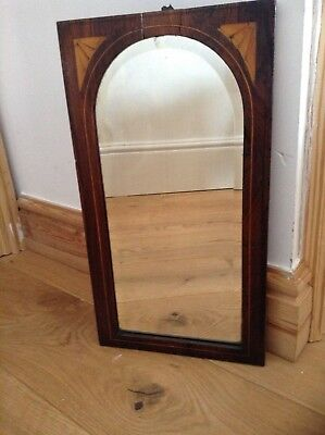 Small antique mirror with marquetry decorated frame H 48 X W 26 cm