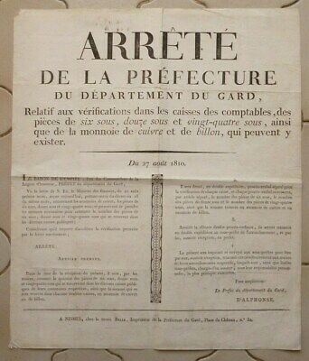 "1810. 1Er Empire. AFFICHE "" VERIFICATIONS PIECES 6,12 et 24 Sous + BILLON"" 1810."