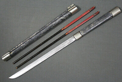 A big Chinese trousse eating set with knife and chopsticks