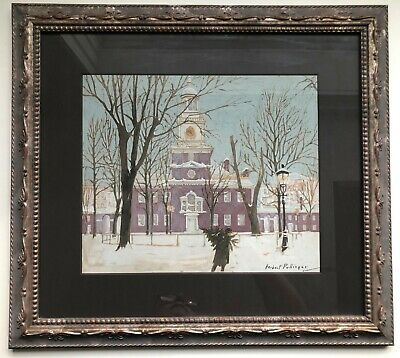PA artist HERBERT PULLINGER painting CITY HALL PHILADELPHIA MAN W/CHRISTMAS TREE