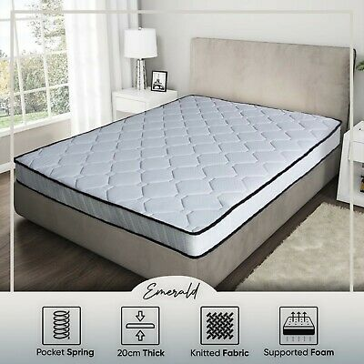 Mattress Queen Double King Single Size Pocket Spring 20cm Medium Feel
