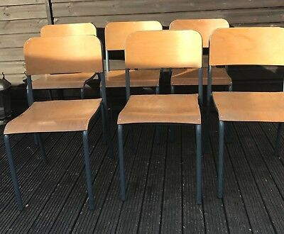 """Six Vintage """"Cox"""" Adult Size School Metal Framed Bentwood Chairs Dining Chapel"""