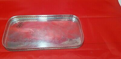 A beautiful vintage silver plated gallery tray with grouse engravings.ornate.