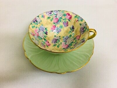 Shelley Ivory Summer Glory Chintz Oleander Footed Cup and Saucer Rare Mint