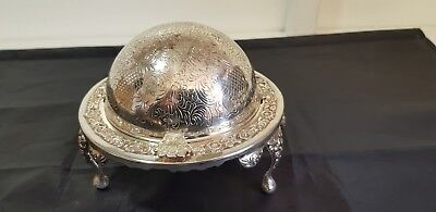 A Beautifil Vintage 1960.s Silver Plated Roll Top Butter Dish.decorated patterns
