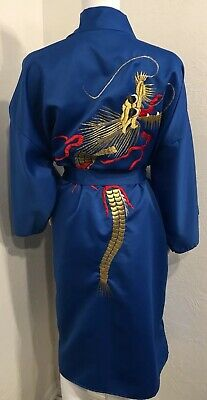 Vintage Japanese Kimono Robe One Size Blue Dragon Embroidered Pockets Belt