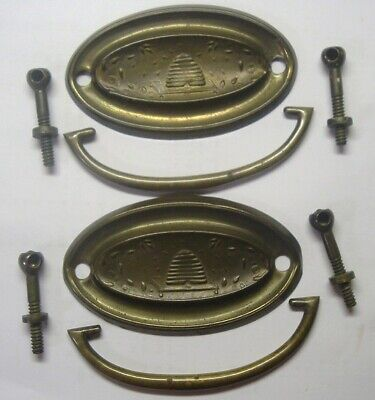 Pair Antique Stamped Brass Drawer Pulls Back Plates Bee Hive Embossed Complete