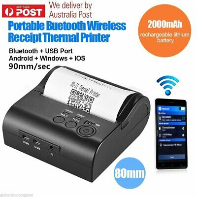 Mini Wireless Bluetooth 80mm Barcode POS Thermal Receipt Printer for iOS AndroA9