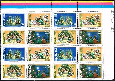 Chile 2009 Stamp # 2391/4 Mnh Block Of Four Christmas Corner Of Sheet