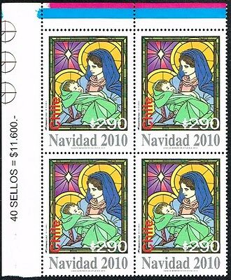 Chile 2010 Stamp # 2444 Mnh Block Of Four Christmas Corner Of Sheet