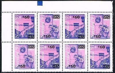 Chile 1992 Ovpd Stamp # 1558/9 Mnh Block Of Four Christmas Corner Of Sheet