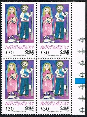 Chile 1987 Stamp # 1269 Mnh Block Of Four Christmas Painting Child Corner Sheet