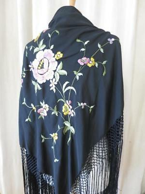 Vintage 1930's Silk Embroidered Shawl- Chinese Roses & Fringing