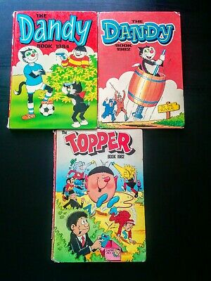 Dandy & Topper UK Comic Annuals 1980's, Hardback, Old, Vintage (1982, 1984)