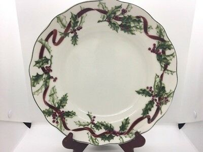 "Charter Club Winter Garden Dinner Plate 11 3/8"" Holly Berries Ribbon"