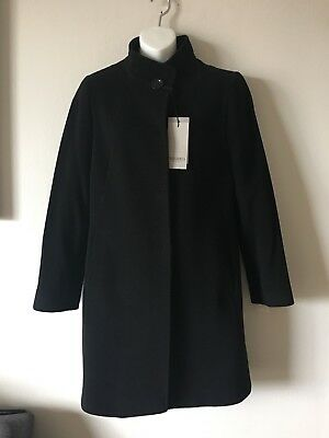 7fdc13f1985 NWT  895 Cinzia Rocca Icons Black Wool Cashmere Stand Collar Coat Size 14