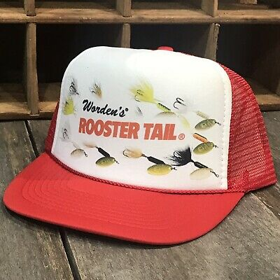 ee51e0fa115d0 Spinner Lure Trout Fishing Trucker Hat Vintage 80 s Snapback Bluegill Fish  Red