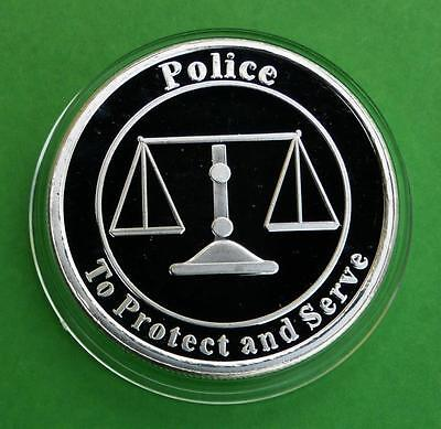 """1 Troy Ounce .999 Fine Silver Police """"To Protect and Serve"""" Silver Bullion Round"""