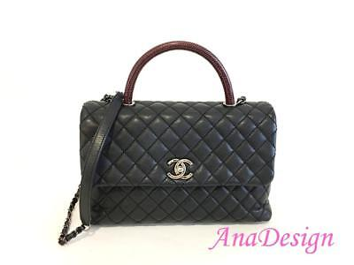 8f2fb25f8ebf Chanel Coco Top Handle Medium Black Caviar Lizard Handle Bag w Authenticity  Cert