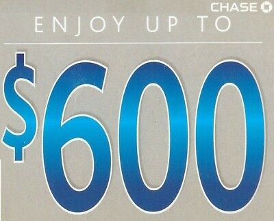 Chase Bank $600 Coupon $300 Checking $200 Savings 100 Bonus Card  Exp 3/5/19 500