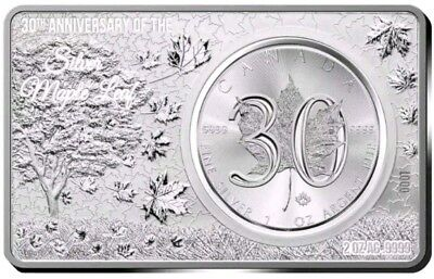 2018 $5 30TH ANNIVERSARY CANADIAN MAPLE LEAF 3 Oz Silver Coin Set.