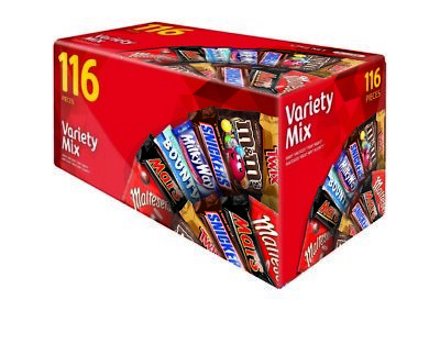 116pc Mars Variety Bars, Jumbo Pack Candy Chocolate kid's Snack Delight Gift