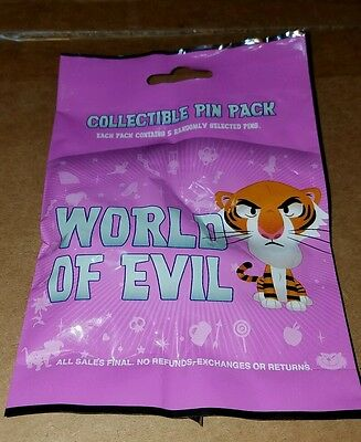 Disney Pins World Of Evil Collectible 5 Pin Mystery Pack Authentic Sealed