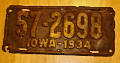 Vintage 1934 Iowa Embossed License Plate 57-2698 (Rough)