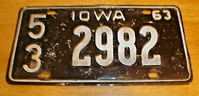 Vintage 1963 Iowa Embossed Tin Black / White License Plate 53 2982