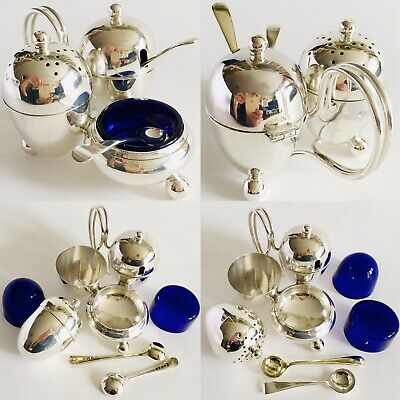 Antique 1917 George V Sterling Silver Cruet Set With Original Cobalt Blue Glass