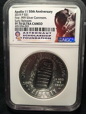 2019-P Proof $1 Apollo 11 50th Ann Silver Dollar NGC PF70UC ASF ER Label