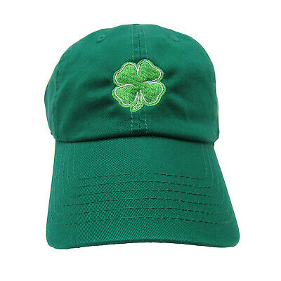 b95313e9 Irish St. Patricks Day 4 Leaf Clover Shamrock Green 100% Cotton Baseball  Cap Hat