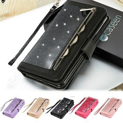 Glitter Bling Leather Zipper Wallet Case Cover For iPhone Xs Max XR X 8 7 6 Plus
