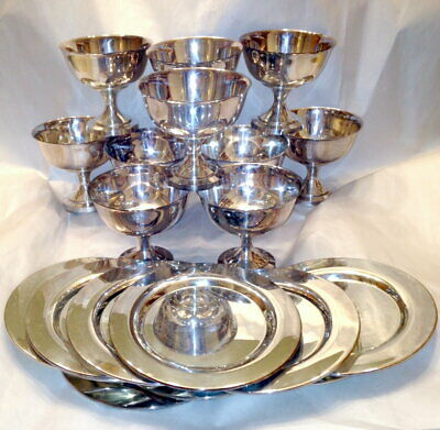 SET (10) Wm. Rogers Oneida Silver Plate Goblets / Dessert Sherbet Cups +Chargers