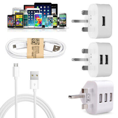 UK Mains 3 Pin Plug Adapter home Wall Travel Charger USB Ports for Mobile Phones