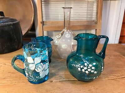 Collection of 4 Antique English Victorian Hand Decorated Glass Jugs Mug Flask