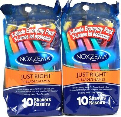 2 Packs Noxzema 10 Ct Just Right 3 Blade Super Smooth Easy Grip Skin Shavers
