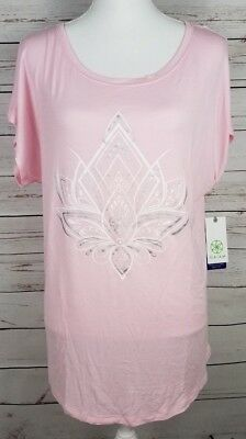 94fc8722b5d95 Gaiam Women s Intention Tee Graphic-Print Lotus Pink Rose Shadow SIZE LARGE  NWT
