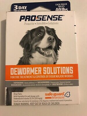 Pro-Sense Dog Dewormer Solutions Safe-Guard 3 Day Treatment Tapeworm Roundworm