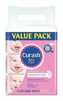Curash Fragrance Free Baby Wipes 3X80 Pack Super Thick Soft Pop up Unscented