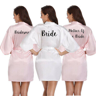 Womens Bridesmaid Satin Silk Wedding Bath Robe Bride Maid Of Honor Mother Gown