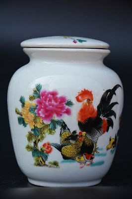 4.9 inches Excellent Chinese Famille Rose Porcelain *rooster/Flower* Tea Caddy