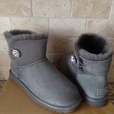 6a5f9d74c9d UGG CLASSIC MINI Bailey Button Bling Gray Grey Suede Fur Boots Size US 10  Womens