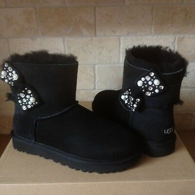 152e272d914 UGG MINI BAILEY Bow Brilliant Bling Pearl Black Suede Boots Size Us 7 Womens