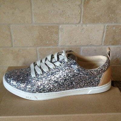 0006b3c2d0d2 Ugg Karine Silver Multi Chunky Sparkly Leather Sneakers Shoes Size Us 6.5  Womens