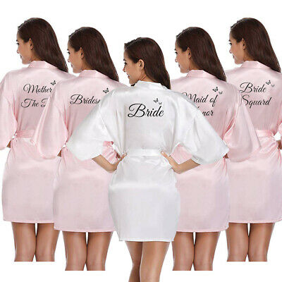 Women Satin Silk Bride Wedding Party Robe Bridesmaid Maid Of Honor Grown Dress