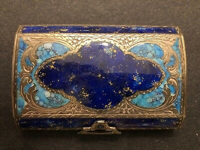 Antique Continental Sterling Silver Enamel Cigarette Case