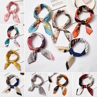Small Vintage Head Neck Hair Tie Band Women Ladies Square Silk Feel Satin Scarf